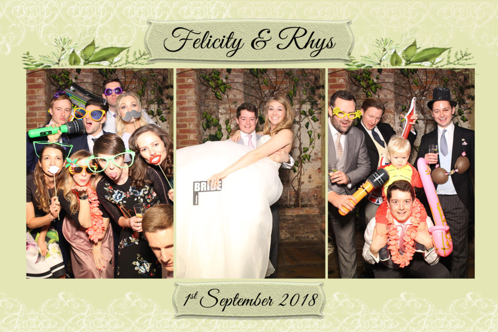 Bride and Groom fun pictures with guests and props